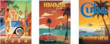 Old posters CUBA , tri uramljene slike 30x40cm svaka