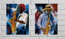 Blue Jazz, dve uramljen slike 40x50cm svaka