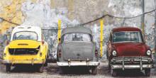Cuba old cars, uramljena slika 50x100cm