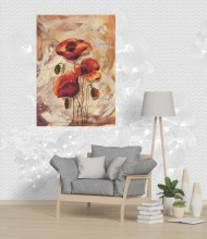 Red beautiful flowers, uramljena slika dimenzije 70x100cm