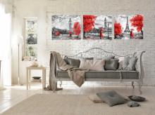 Red umbrelas cities, tri uramljene slike 30x40cm svaka