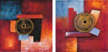 China old coins , dve uramljene slike 50x50cm svaka