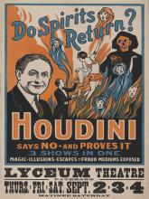 Old poster Houdini, uramljena slika 30x40cm