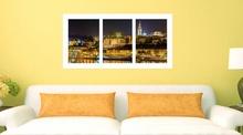 Pristaniste nocu triptych, uramljena slika 50x100 cm