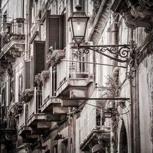 Beautiful vintage balcony and street lamp, uramljena slika 45x55cm