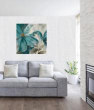 Blue flower, uramljena slika dimenzije 70x70cm