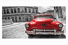 Cuban red car draw, uramljena slika 50x100cm