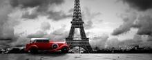 Pariz crveni automobil, uramljena slika 50x100cm