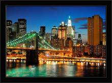 Brooklyn bridge at night, framed picture