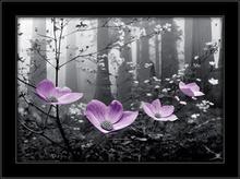 Ljubičasti cvetovi 3D, uramljena slika