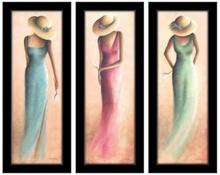 Dame i haljine triptih , 3 uramljene slike