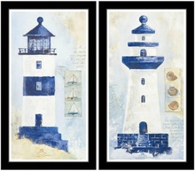 Blue white lighthouses, picture