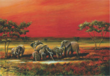 Elephants in Mali, uramljena slika 70x100cm