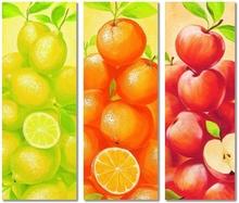 Limun, Pomorandža, Jabuka, slike na medijapanu