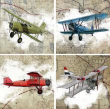 Old war planes, uramljena slika 4 komada 30x30cm svaka