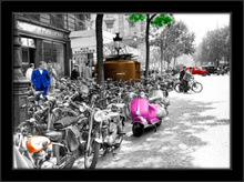 Pink vespa, framed picture