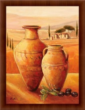 Pots and olives, framed picture