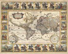 Stara geografska mapa sa zlatotiskom