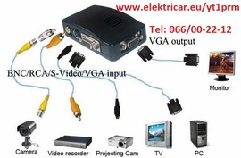 Slika vga -video konverter i video-vga konverter signala komplet sa kablovima