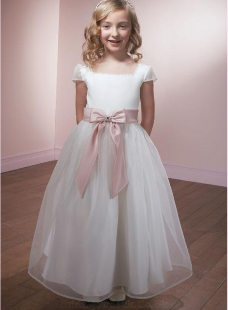 Girls White Dress With Pink Satin Bow