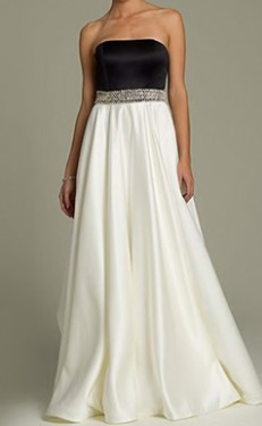 Slika Dugacka crno bela saten haljina sa cirkonima na struku