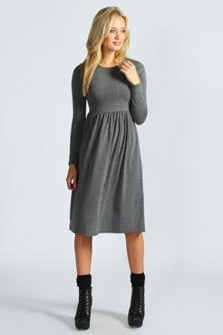 Poludugacka siva pamucna haljina