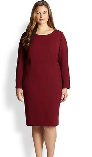 Jednostavna bordo haljina u vecim brojevima