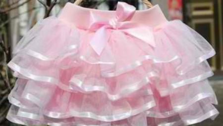 Roze tutu suknja sa saten trakom