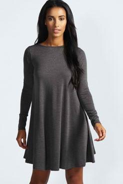 Slika Zvonasta siva pamucna haljina