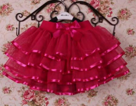 Slika Ciklama tutu suknja sa saten trakom
