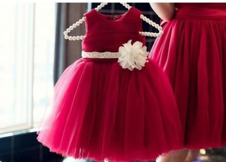 Slika Satenska bordo haljina sa tilom za devojcice