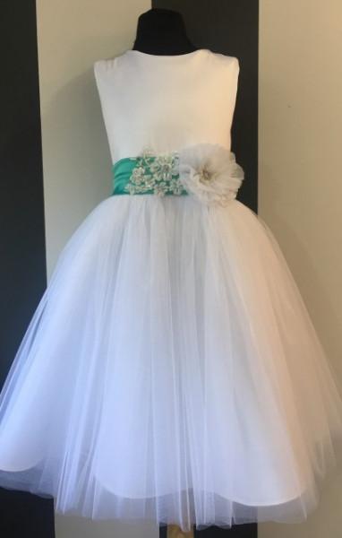 Satenska haljina sa saten trakom cvetom i tilom