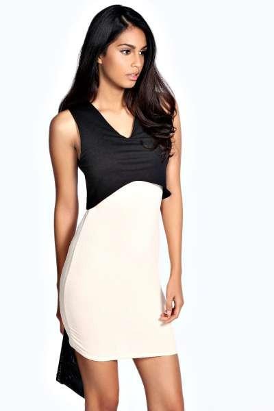Atraktivna crno bela haljina