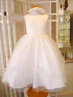 Baletska haljina za devojcice od satena i tila sa trakom od cvetova
