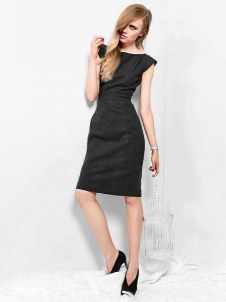 Crna haljina sa cap rukavom