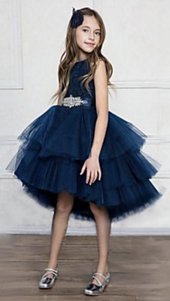 Teget raskosna haljina sa aplikacijom na pojasu