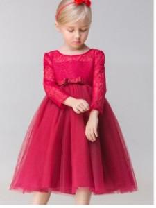 Tamno crvena haljina sa cipkom i tilom
