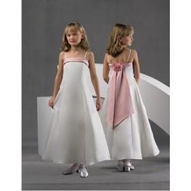 Bela svecana satenska haljina sa roze masnom