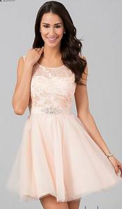 Roze haljina sa cipkom, satenom i tilom