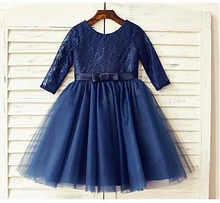 Dark blue lace and tulle girls dress