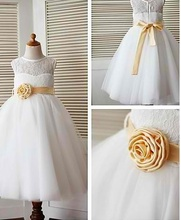 Beautiful lace dress with golden rose
