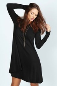 Crna pamucna haljina dug rukav