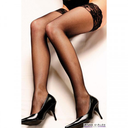 Slika Crne mrežaste samodržeće čarape