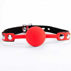 Slika Kugla za usta | Red silicone ball gag leopard