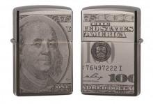 Зажигалка Zippo 49025 Currency 100 Dollar Design