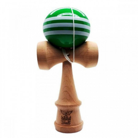 KENDAMA BALL ORIGINALA STRIPE ALB LEMN FAG VERDE