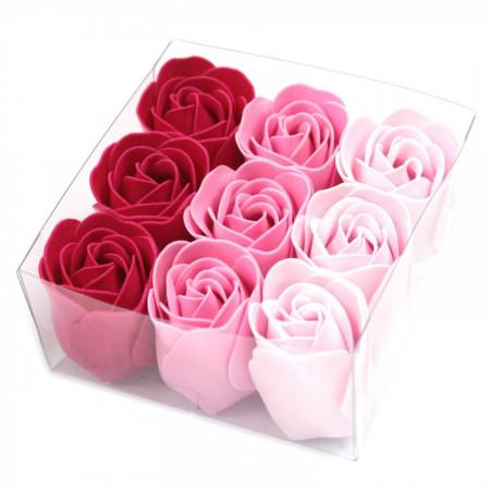 Set cadou 9 flori de sapun - Pink roses