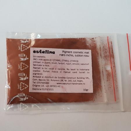 Pigment cosmetic mat maro închis, subton rosu 10 gr