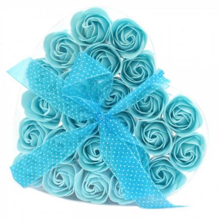 Set cadou 24 flori de sapun - trandafiri bleu