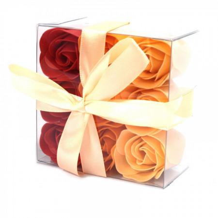 Set cadou 9 flori de sapun - Peach roses